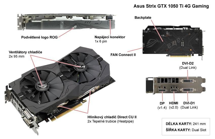 Asus Strix GTX 1050 Ti 4G Gaming popis