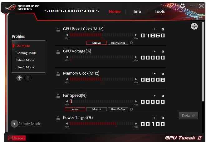 Asus Strix GTX 1070 O8G Gaming GPU Tweak II OC mode