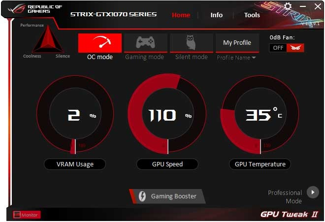 Asus Strix GTX 1070 O8G Gaming GPU Tweak II Simple mode
