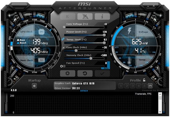 Přetaktování Asus Strix GTX 1070 O8G Gaming; Afterburner