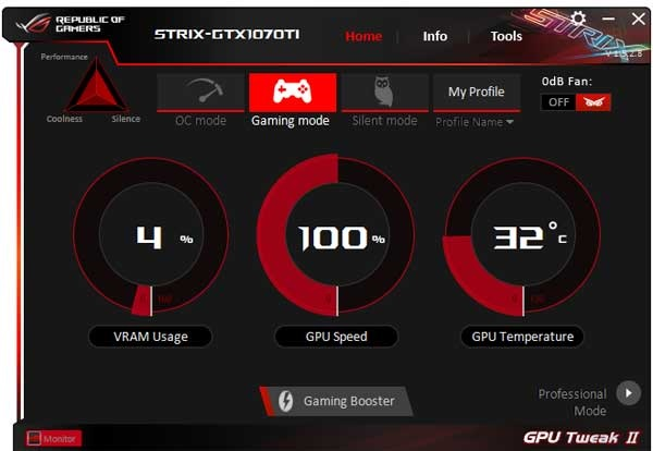 Asus Strix GTX 1070 Ti A8G Gaming GPU Tweak II Simple mode