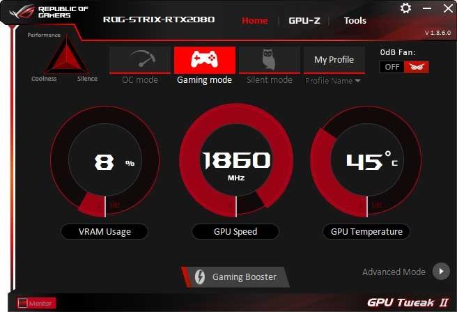 Asus Strix GTX 1070 O8G Gaming GPU Tweak II Gaming mode