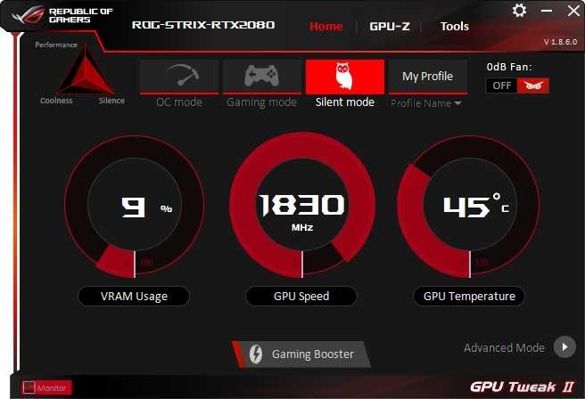 Asus Strix GTX 1070 O8G Gaming GPU Tweak II Silent mode