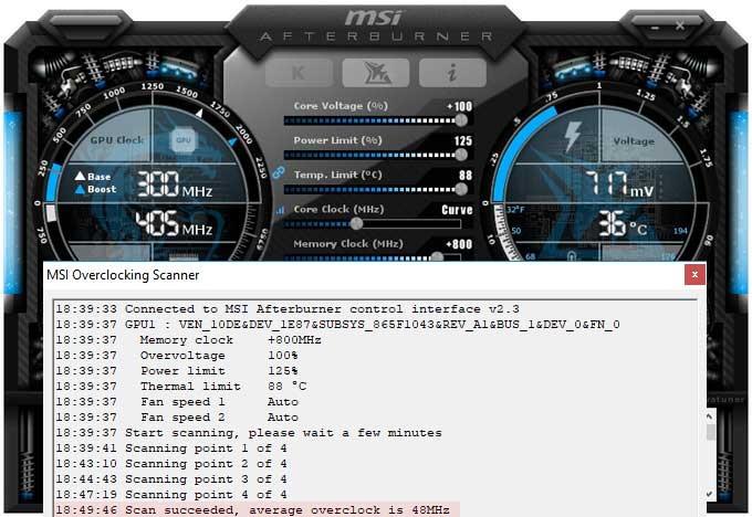 Přetaktování Asus Strix RTX 2080 O8G Gaming; Afterburner