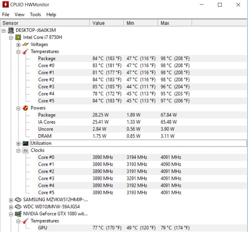 Teploty Asus Zephyrus GX501GI – software HWMonitor