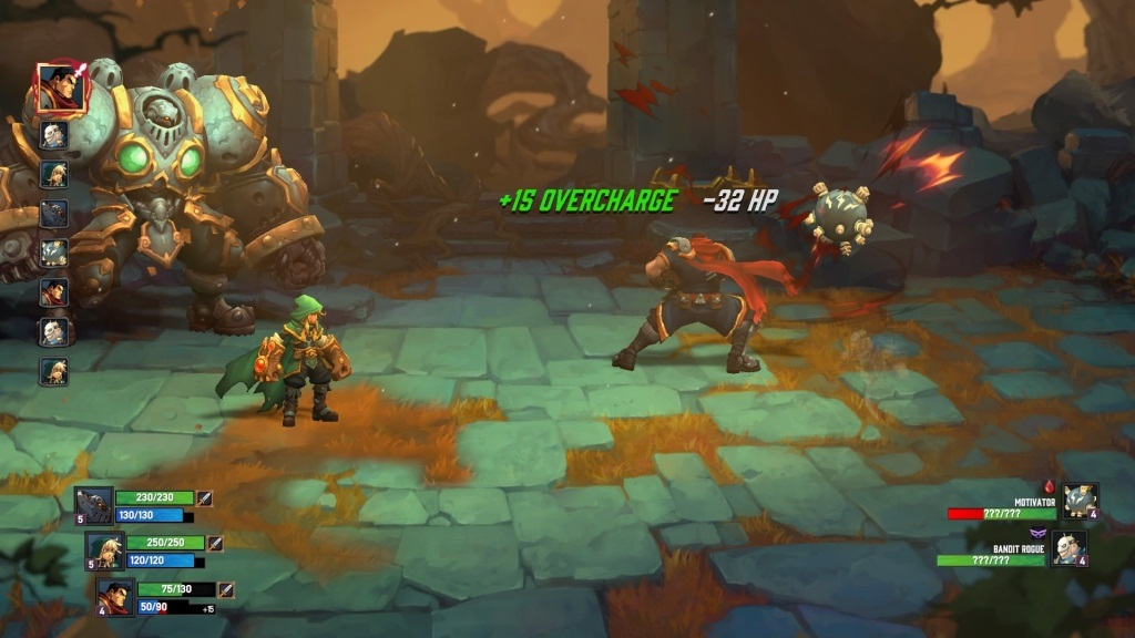 Battle Chasers: Nightwar; Gameplay: použití Overcharge