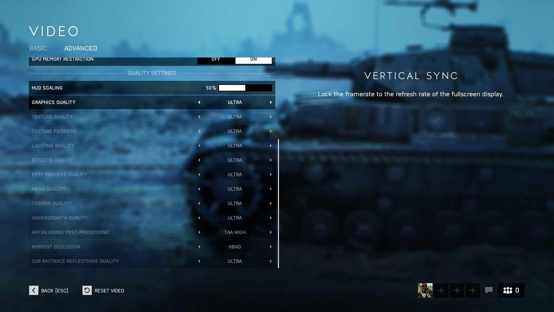 Battlefield 5 rozšířené nastavení
