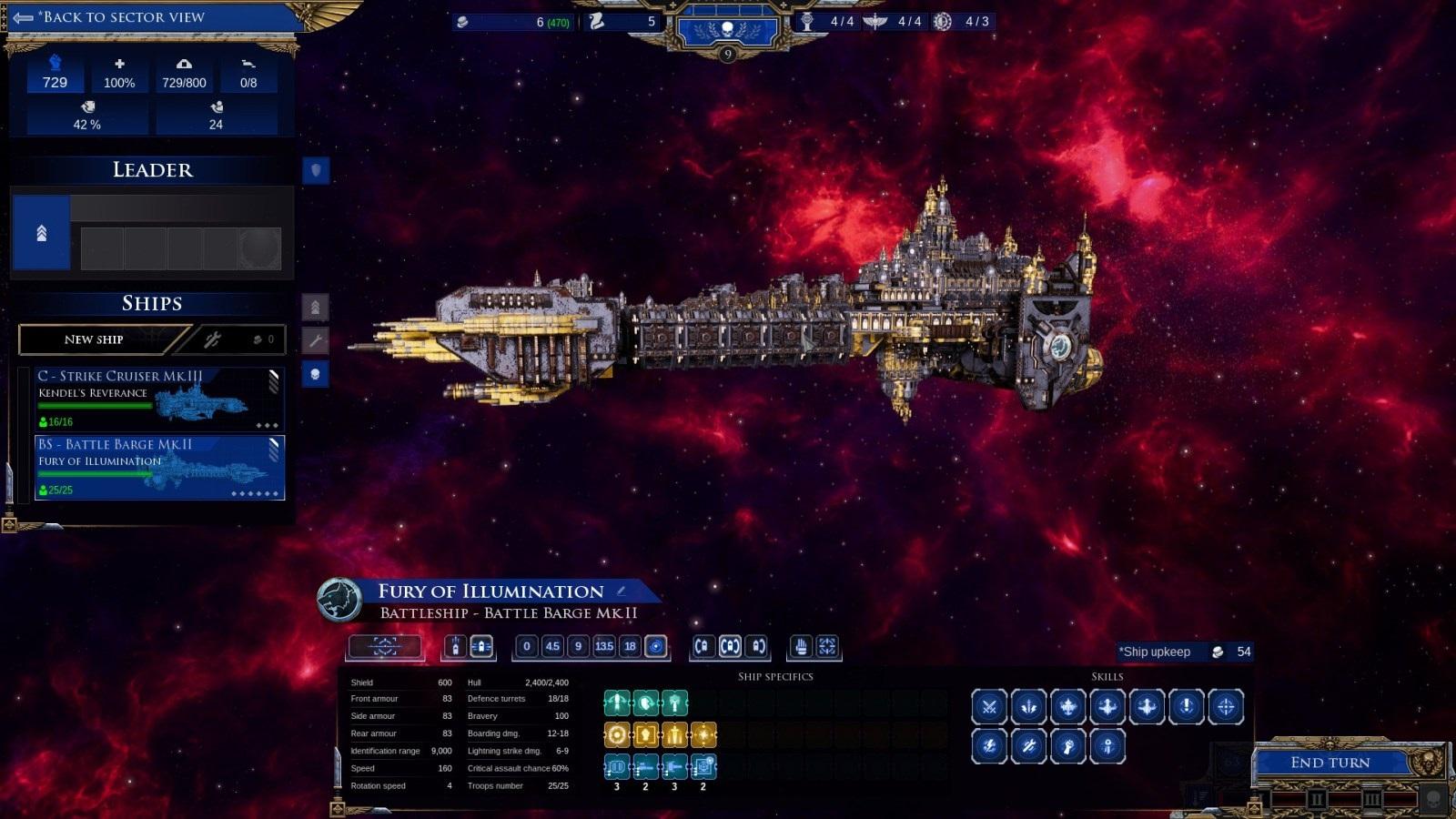Battlefleet Gothic: Armada II; gameplay: koráb