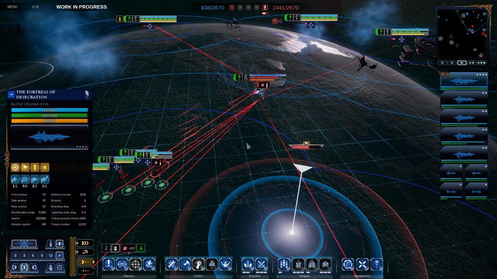 Battlefleet Gothic: Armada II; gameplay: palba