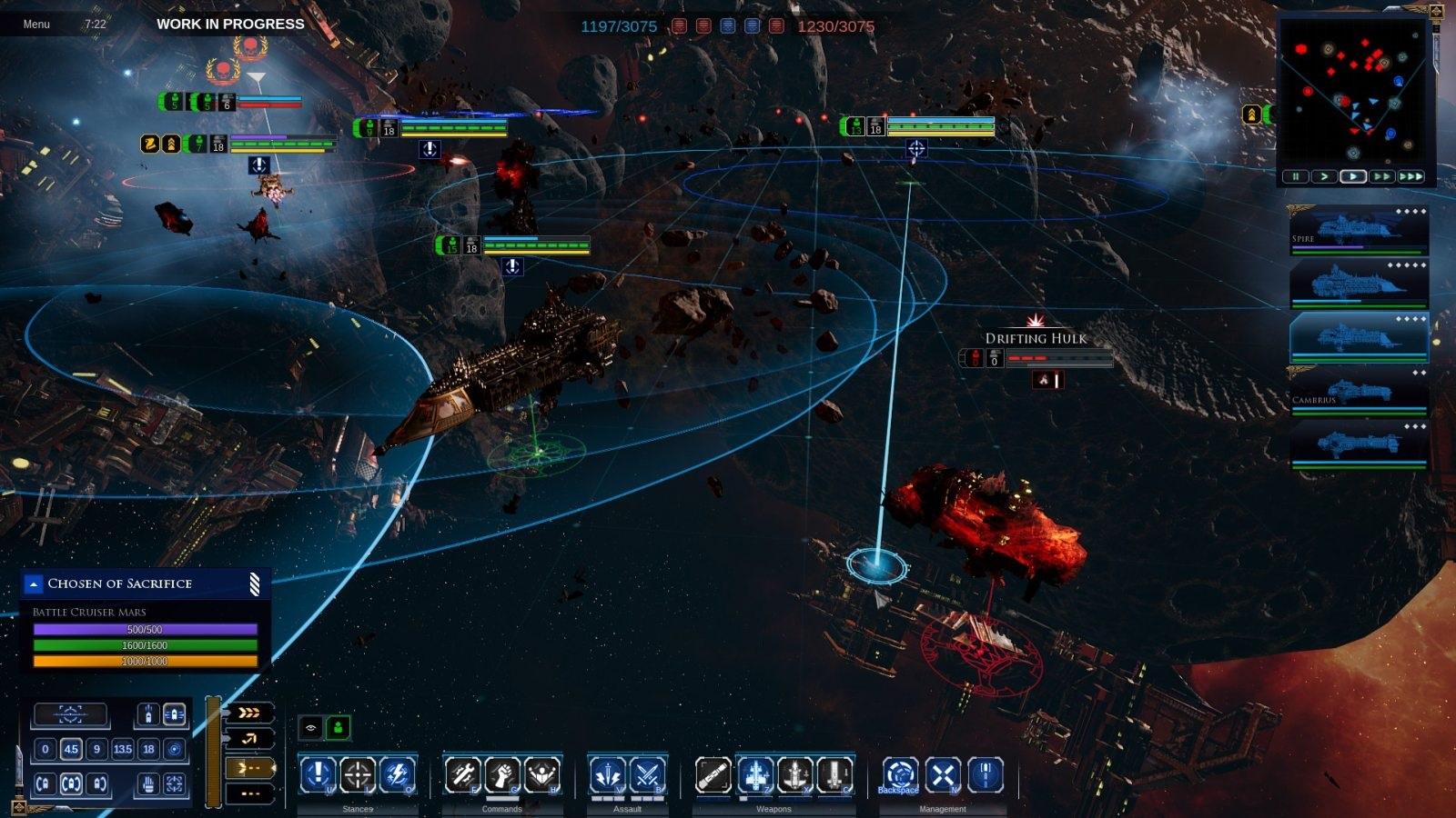 Battlefleet Gothic: Armada II; screenshot: prázdná loď