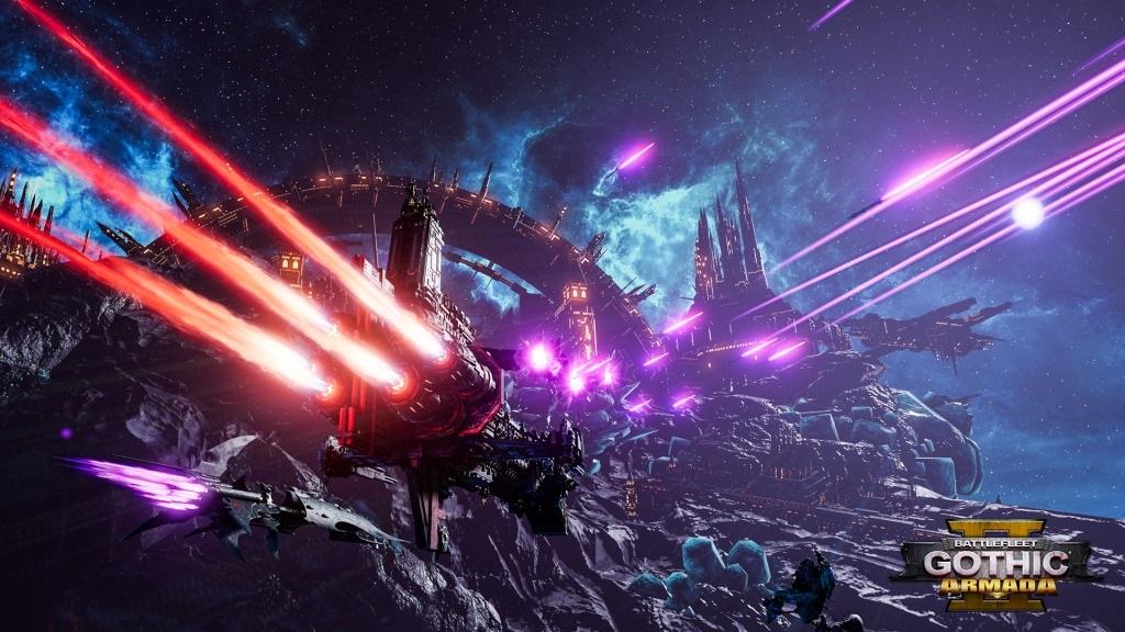 Battlefleet Gothic: Armada II; screenshot: útok na svět