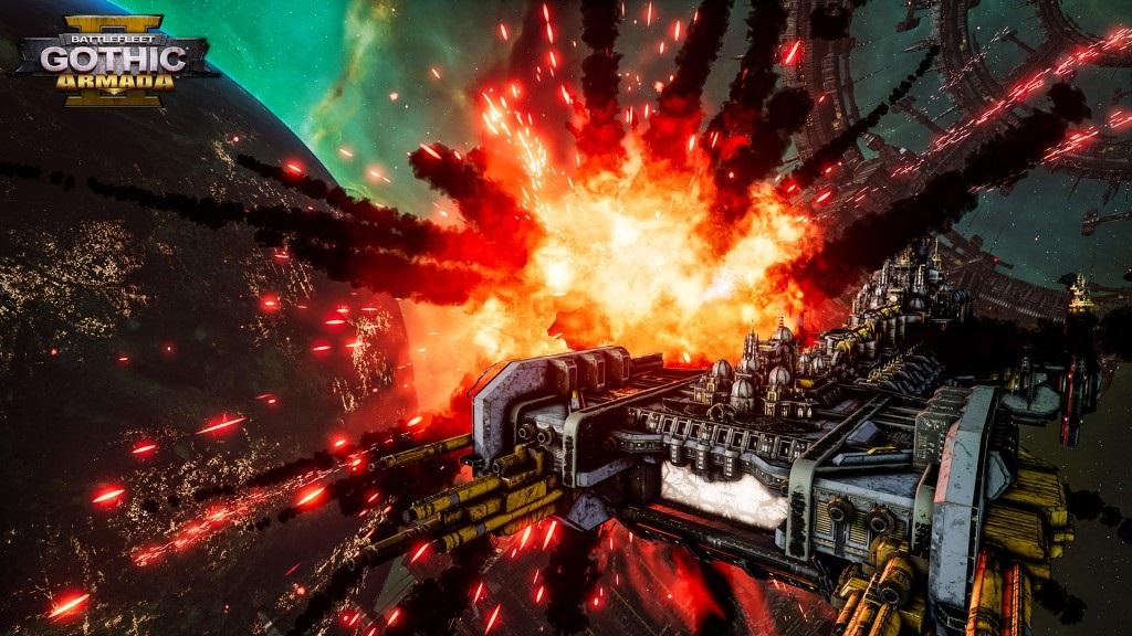 Battlefleet Gothic: Armada II; screenshot: výbuch miny