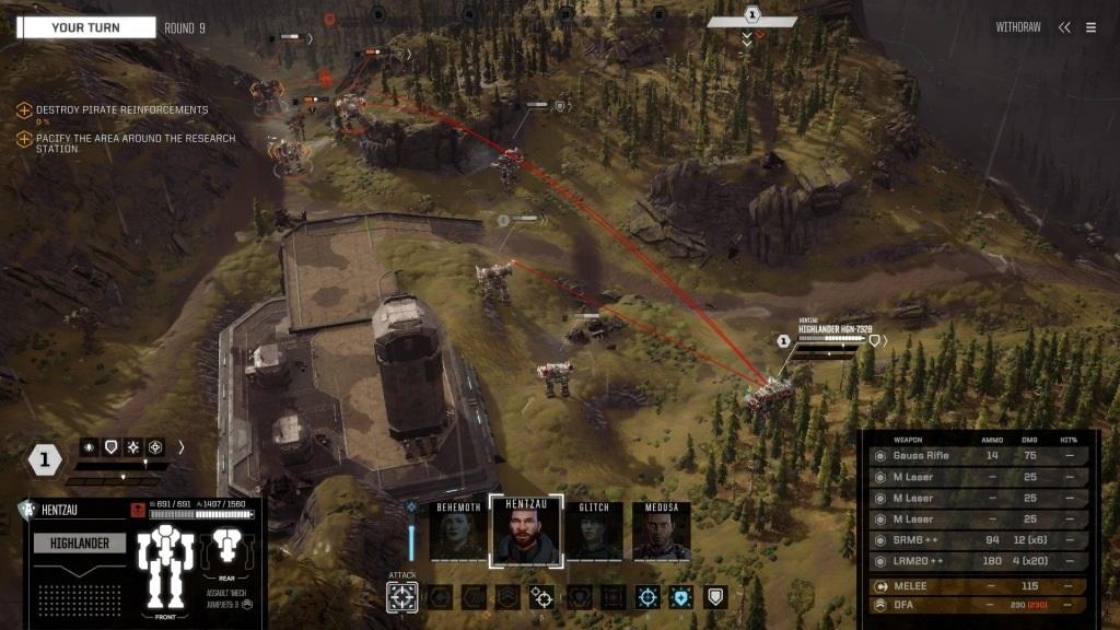 Nejlepší hry; BattleTech; screenshot: kontrola bojiště