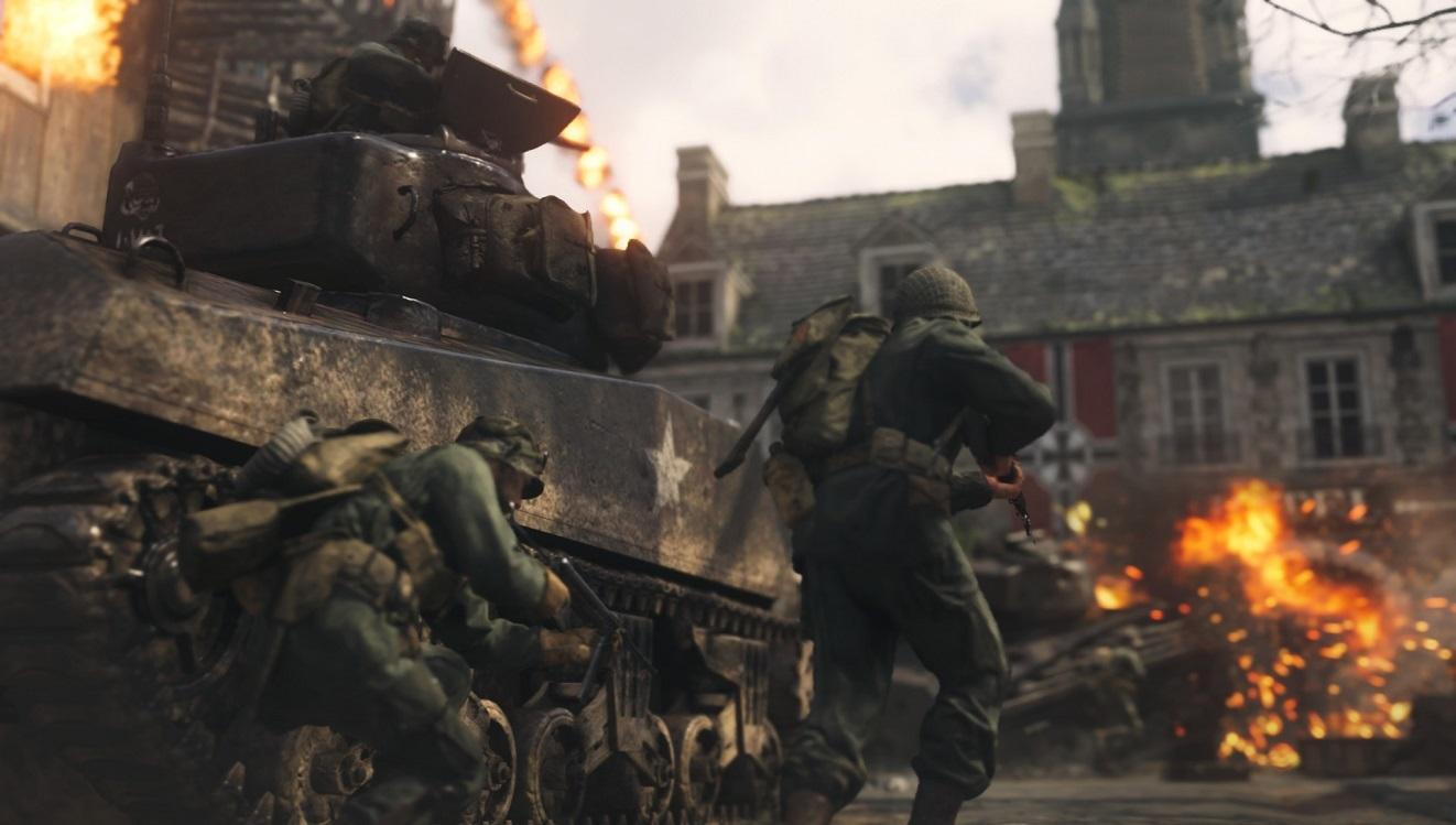 Call of Duty WW2; vojaci, tank