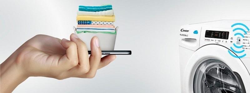 Candy Smart Touch; pračka; prádlo; mobil