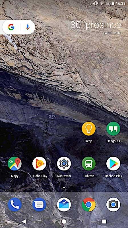 Čistý Android - domácí obrazovka
