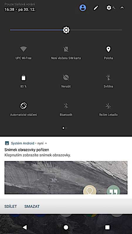 Čistý Android - rychlá nastavení