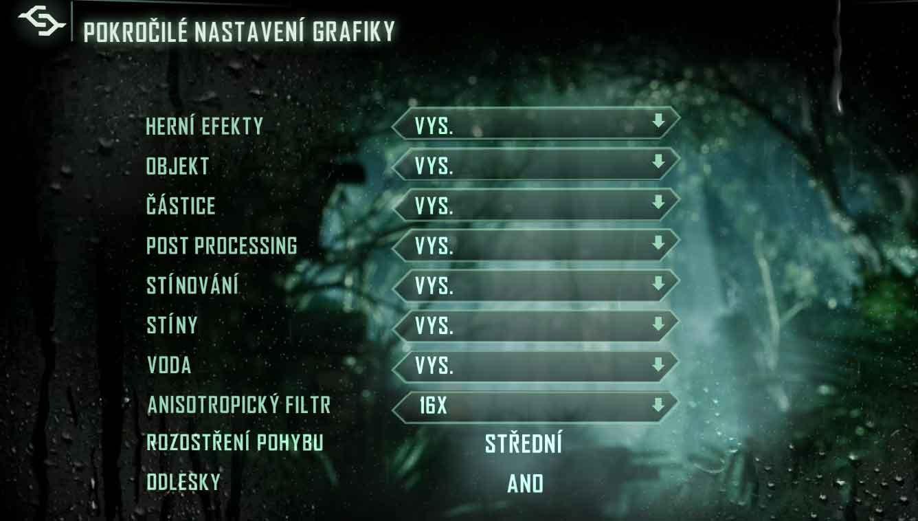 Crysis 3 nastavení podrobné