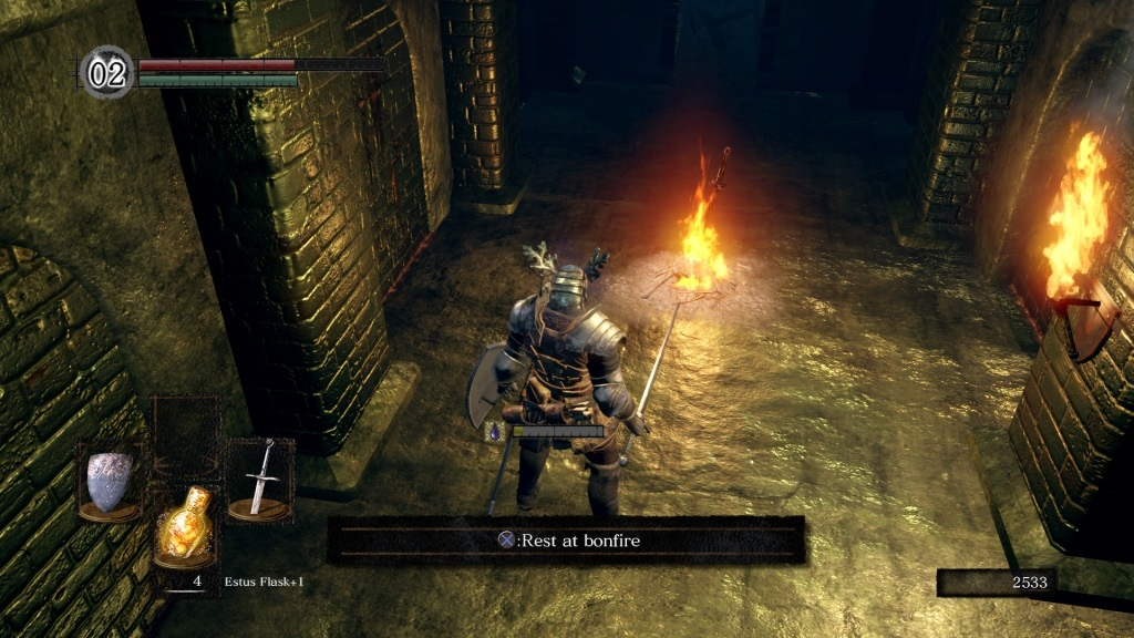 Dark Souls: Remastered; gameplay: bonfire