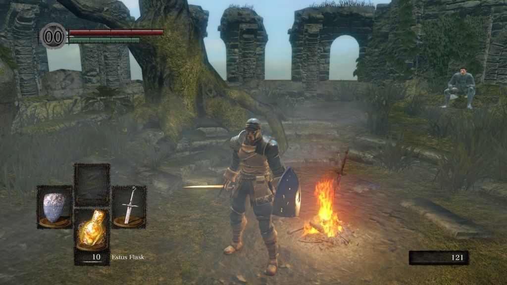 Dark Souls: Remastered; gameplay: firelink shrine