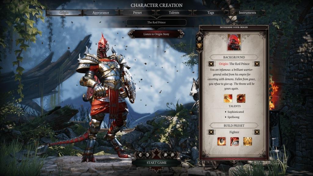 Divinity: Original Sin 2; Gameplay: vytvareni postav, The Red Prince
