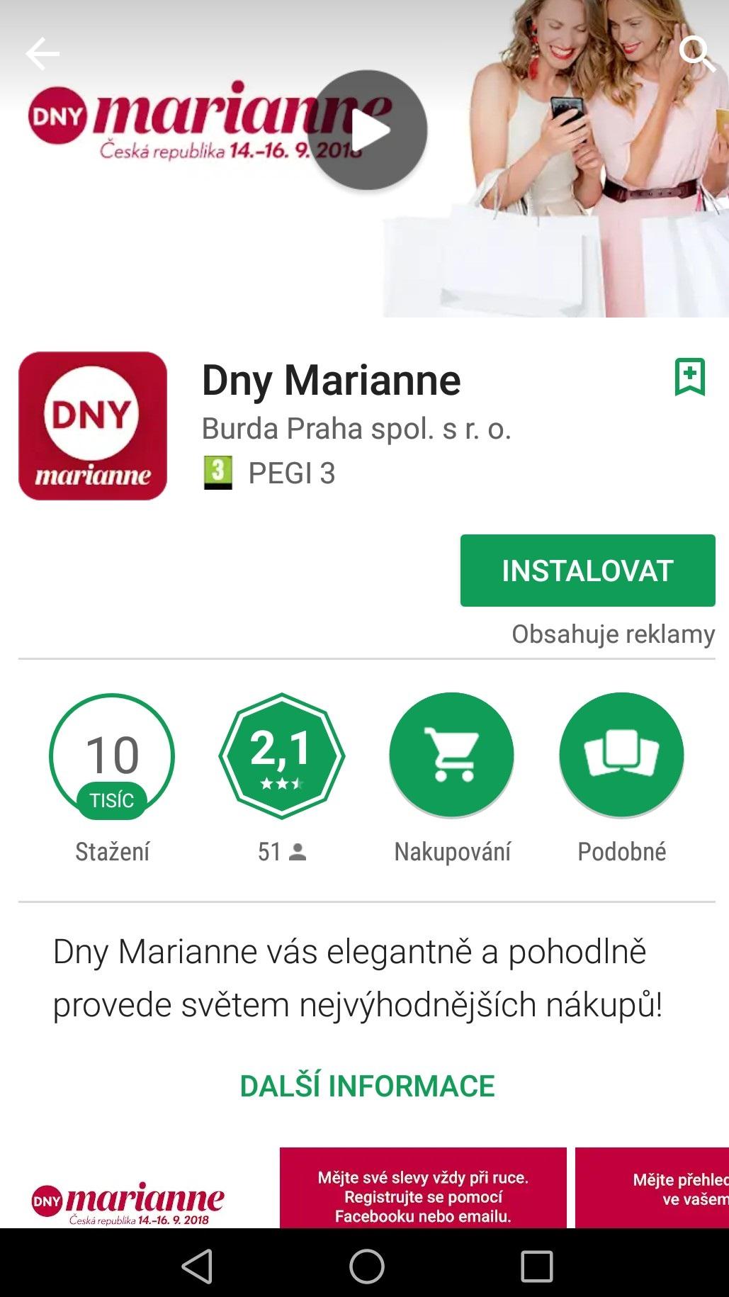 Dny Marianne - postup