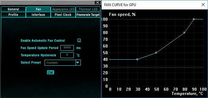 EVGA Precision XOC; nastavení otáček ventilátorů