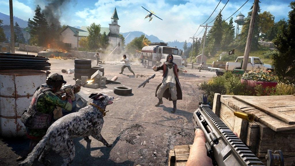 Nejlepší hry; Far Cry 5; Wallpaper: bitva, náměstí, zbraně, letadlo