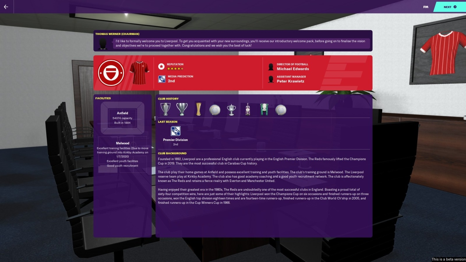 Football Manager 2020; gameplay: data