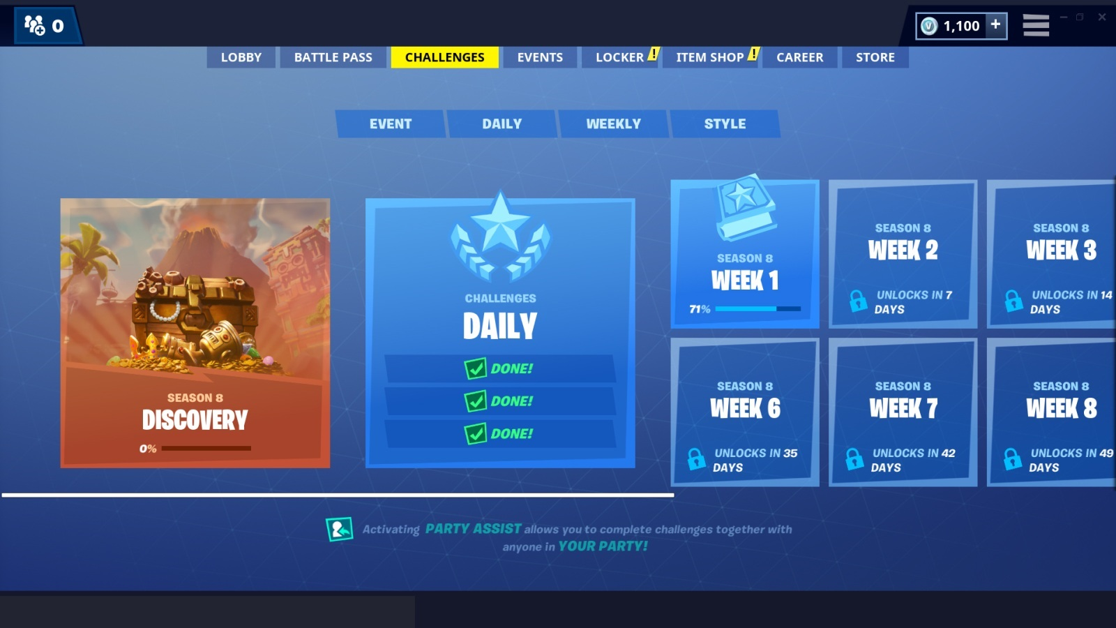 Fortnite; screenshot: menu