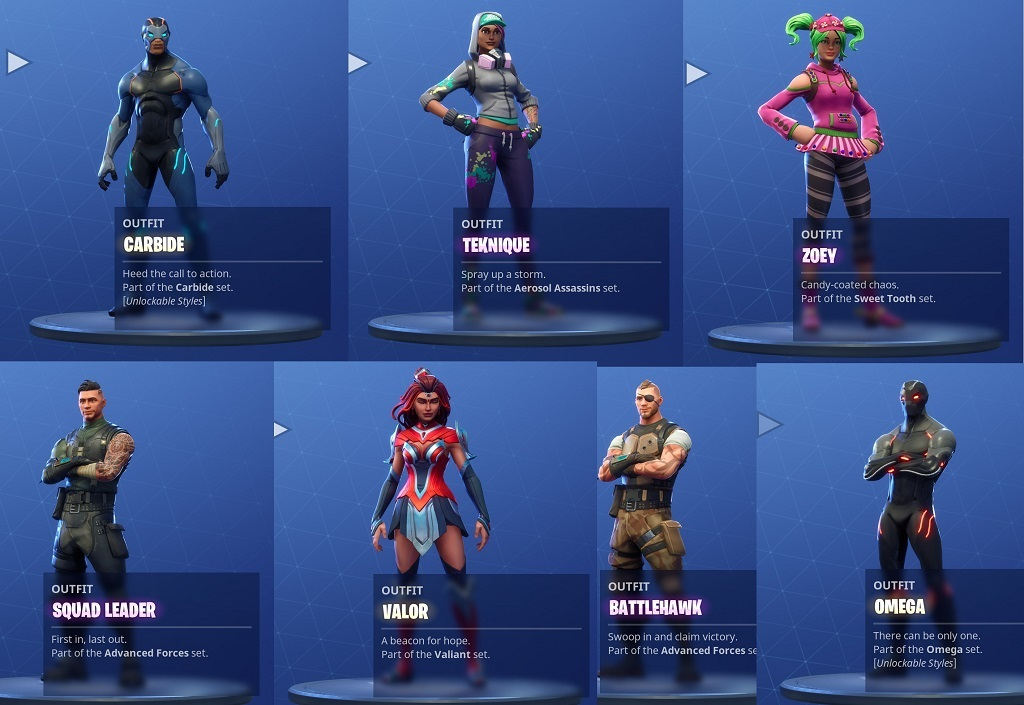 Fornite; season 4, screenshot, new outfits