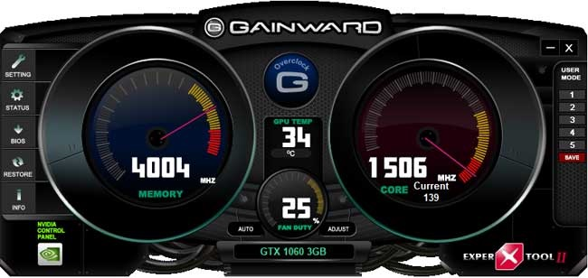Gainward GTX 1060 3GB Expertool