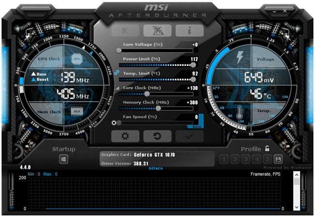 Přetaktování Gainward GTX 1070 8GB; Afterburner