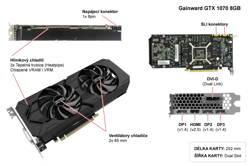 Gainward GTX 1070 8GB popis
