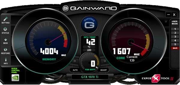 Gainward GTX 1070 Ti Phoenix GS EXPERTool