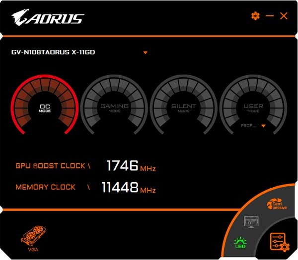 Gigabyte Aorus GTX 1080 Ti Xtreme Edition 11G Graphics Engine OC mode