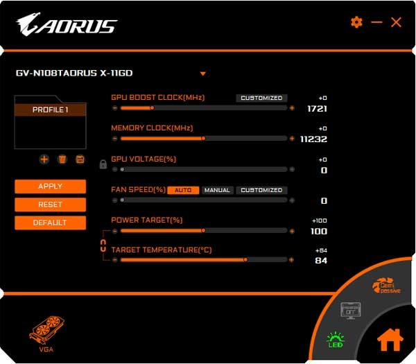 Gigabyte Aorus GTX 1080 Ti Xtreme Edition 11G Graphics Engine Professional mode