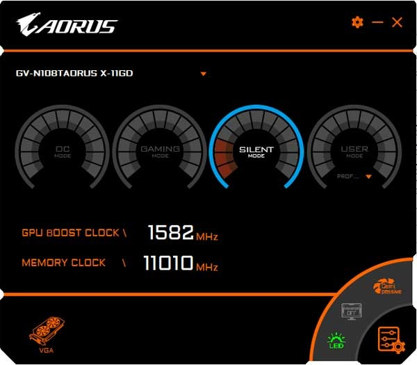 Gigabyte Aorus GTX 1080 Ti Xtreme Edition 11G Graphics Engine Silent mode