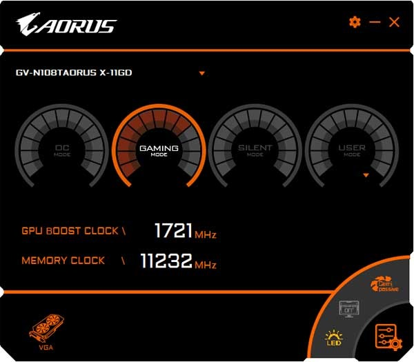 Gigabyte Aorus GTX 1080 Ti Xtreme Edition 11G Graphics Engine Gaming mode