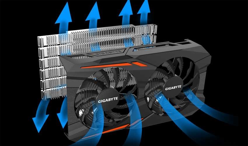 Gigabyte GTX 1050 OC 2G; systém chlazení