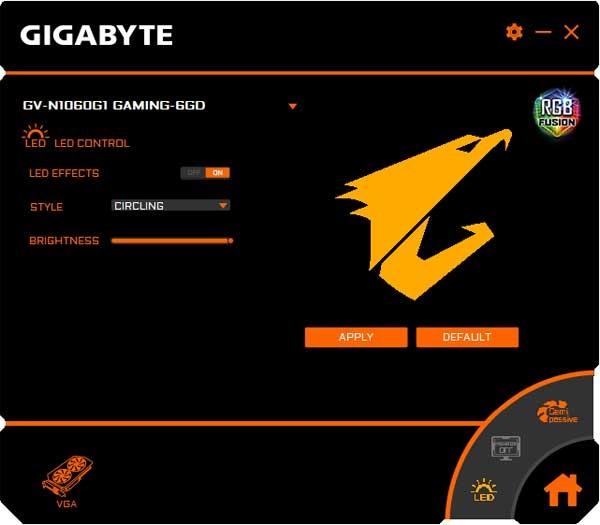 Gigaby GTX 1060 G1 Gaming 6G RGB Fusion