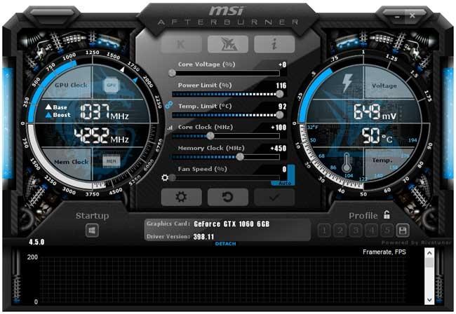 Přetaktování Gigabyte GTX 1060 Windforce OC 6G; Afterburner