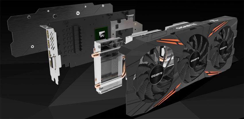 Gigabyte GTX 1070 Ti Gaming OC 8G, systém chlazení