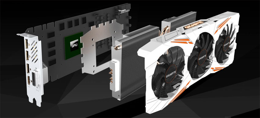 Gigabyte GTX 1080 Ti Gaming OC 11G; systém chlazení
