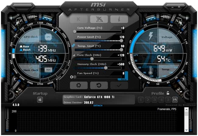 Přetaktování Gigabyte GTX 1080 Ti Gaming OC 11G; Afterburner