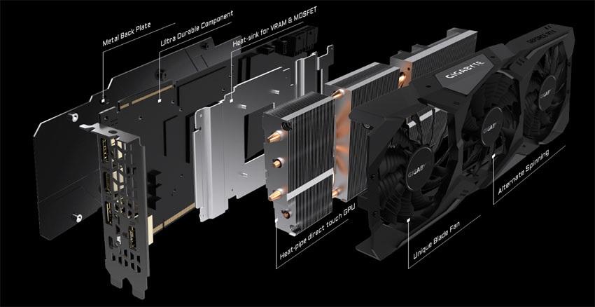 Gigabyte RTX 2080 Ti Gaming OC 11G; systém chlazení