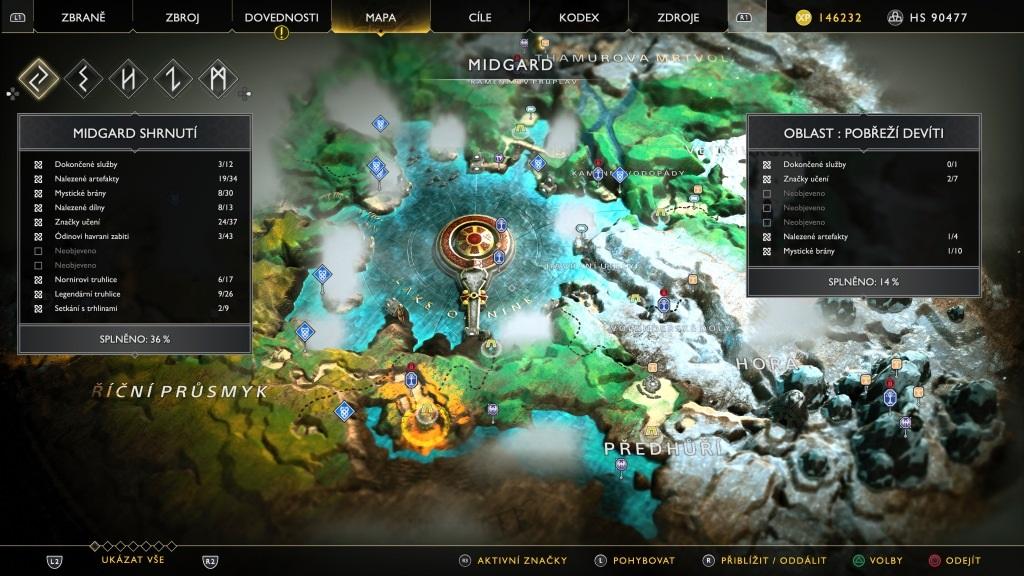 God of War; Gameplay: mapa midgardu