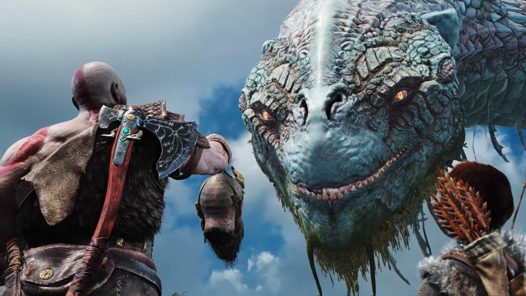 God of War; Wallpaper: obří had, Kratos, Atreus