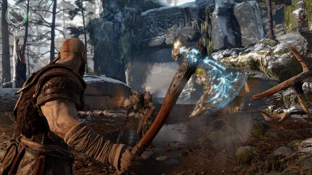 God of War; Wallpaper: Kratos, sekera, ruiny