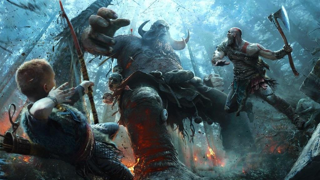 God of War; Wallpaper: souboj, Kratos, Atreus, monstrum
